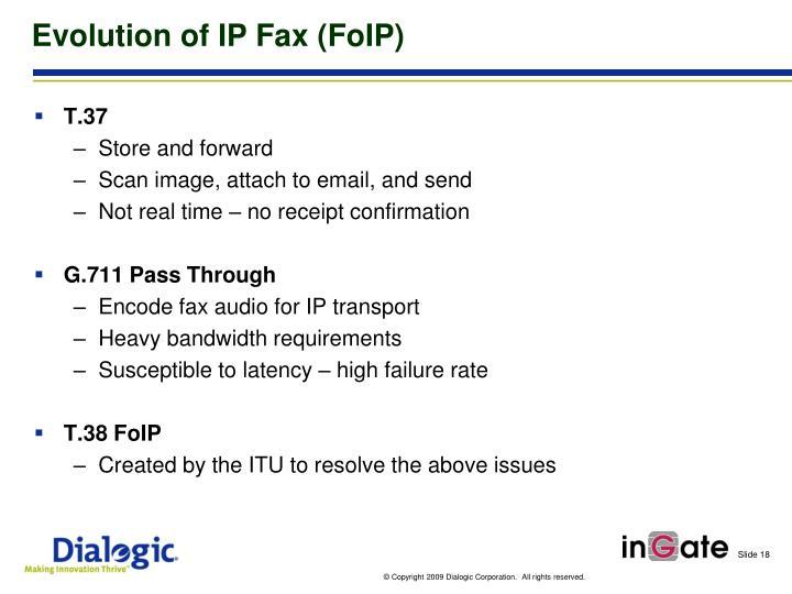 Evolution of IP Fax (FoIP)