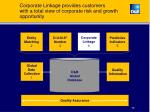 corporate linkage provides customers with a total view of corporate risk and growth opportunity