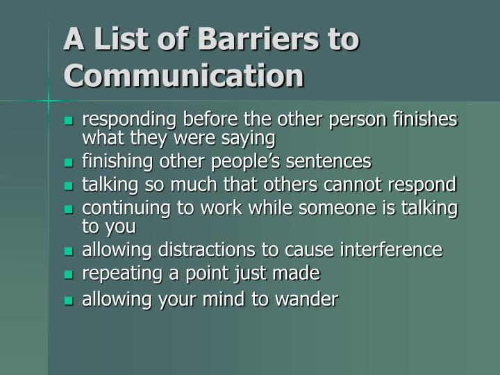 A List of Barriers to Communication