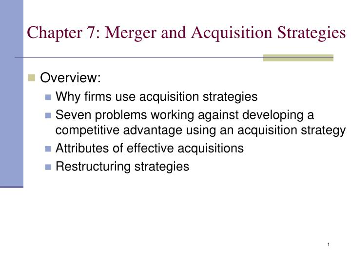 chapter 7 merger and acquisition strategies n.