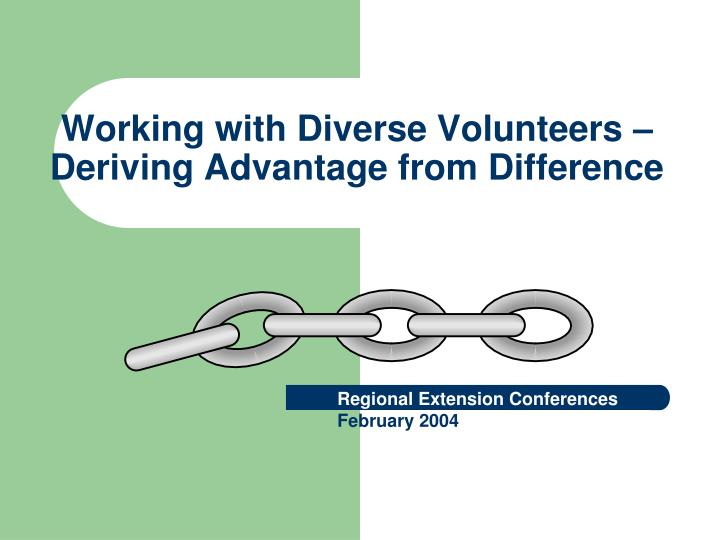 working with diverse volunteers deriving advantage from difference n.