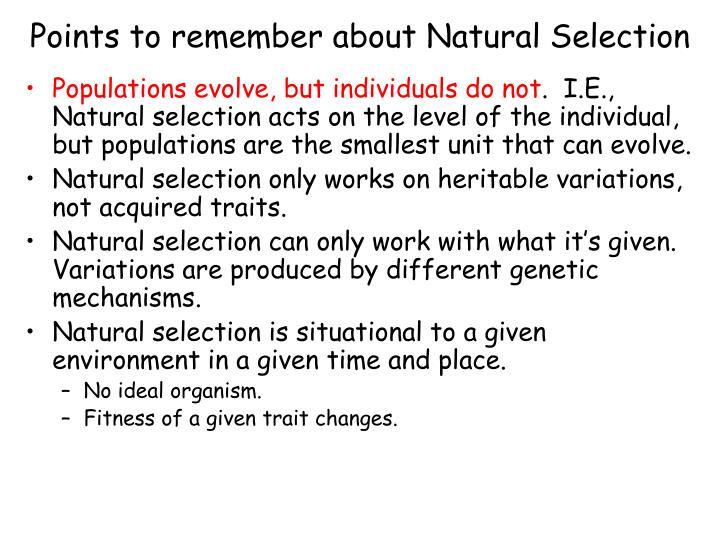 points to remember about natural selection n.