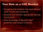 your role as a coe member1