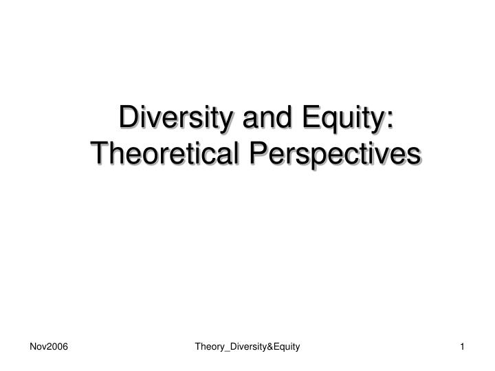 diversity and equity theoretical perspectives n.