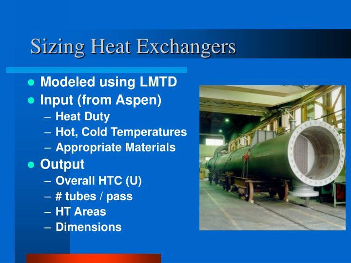 Sizing Heat Exchangers