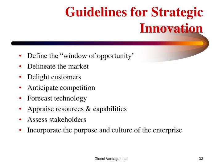Guidelines for Strategic Innovation