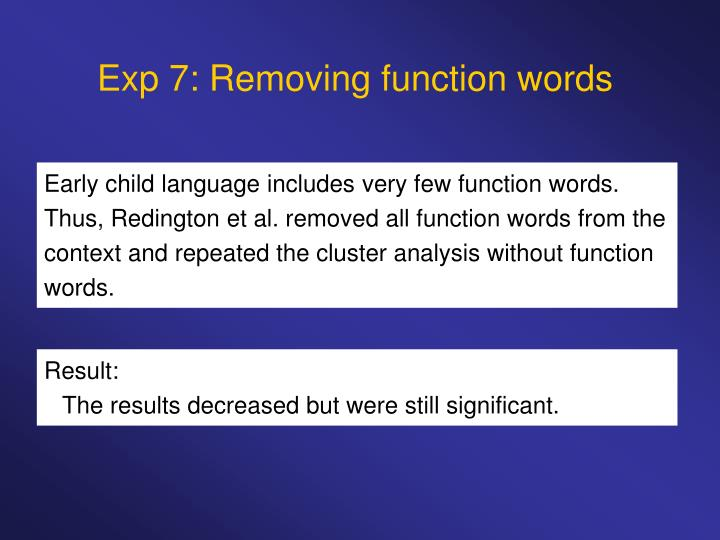 Exp 7: Removing function words