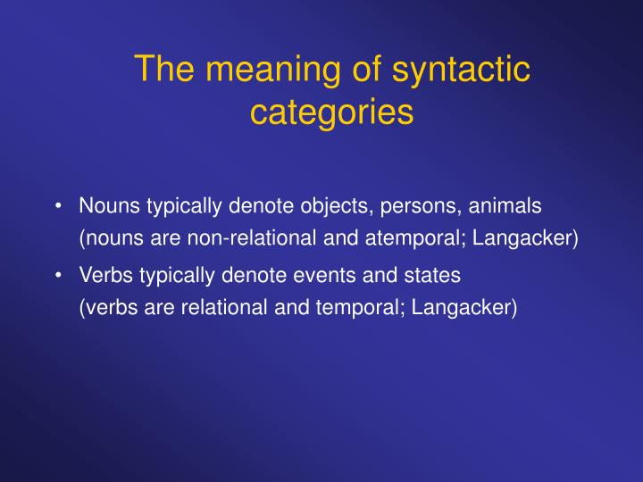 The meaning of syntactic categories