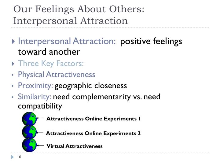 three key factors in interpersonal attraction Start studying interpersonal attraction (four factors) learn vocabulary, terms, and more with flashcards, games, and other study tools.