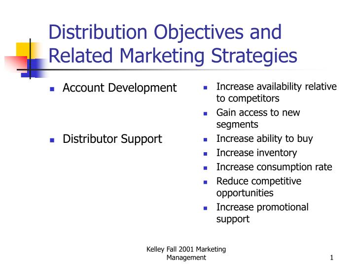 distribution objectives and related marketing strategies n.