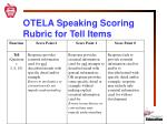 otela speaking scoring rubric for tell items