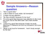 sample answers reason question