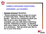 sample speaking questions answers and scores