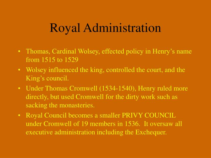 Royal Administration