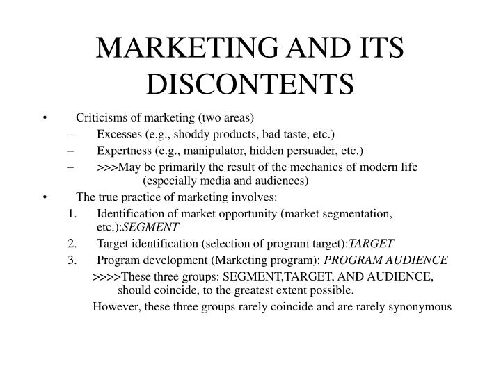 marketing and its discontents n.