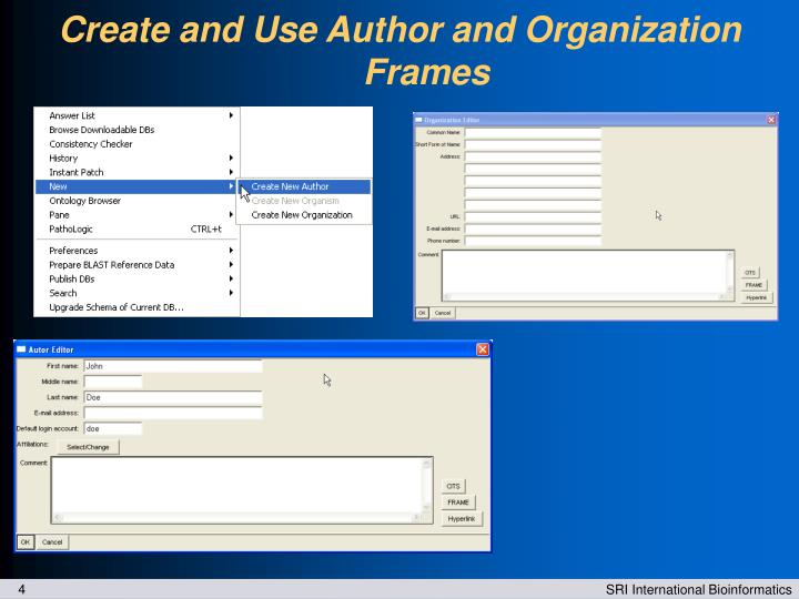 Create and Use Author and Organization Frames