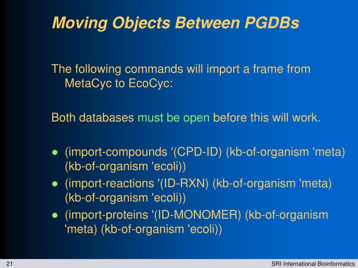 Moving Objects Between PGDBs