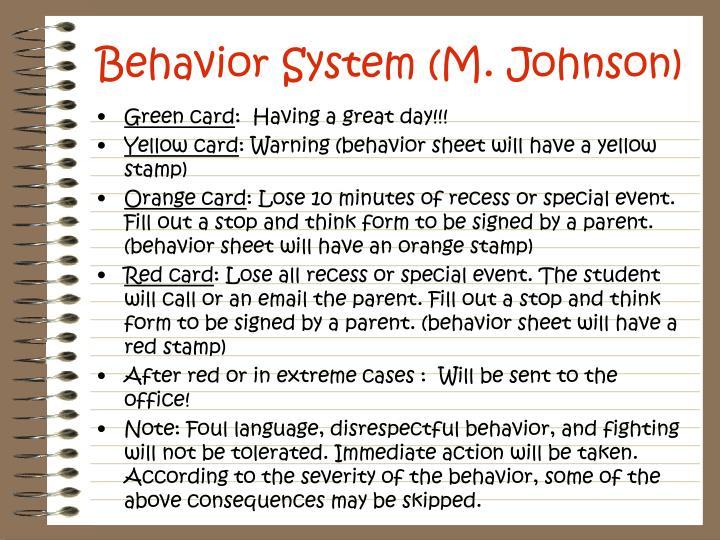Behavior System (M. Johnson)