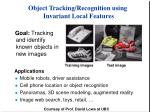 object tracking recognition using invariant local features