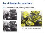 test of illumination invariance