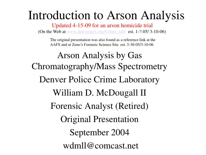 introduction to arson analysis n.