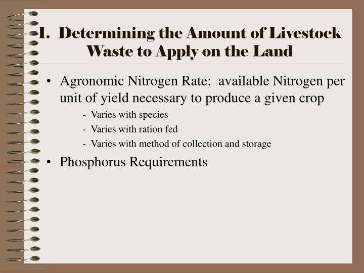 I.  Determining the Amount of Livestock Waste to Apply on the Land