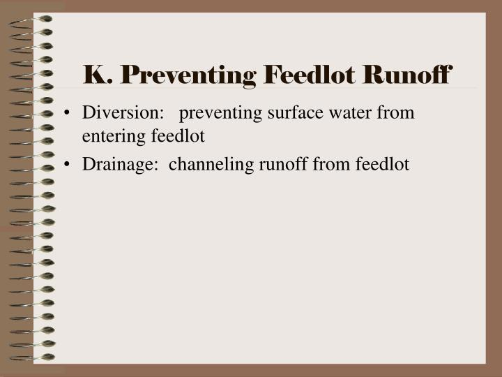 K. Preventing Feedlot Runoff