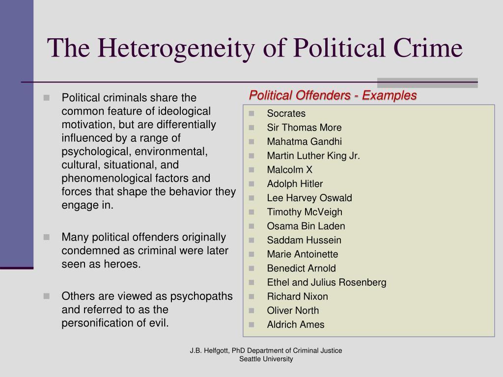 Political crime: definition & examples video & lesson transcript.