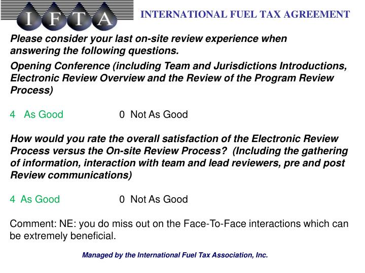 Please consider your last on-site review experience when answering the following questions.