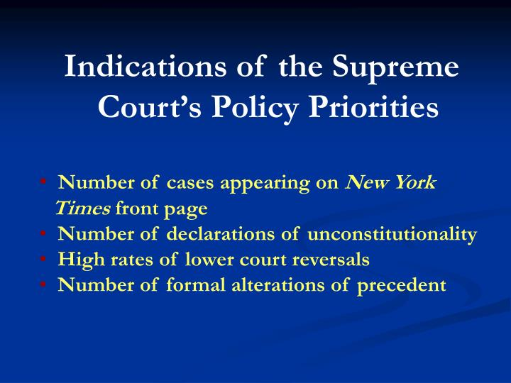 Indications of the Supreme Court's Policy Priorities