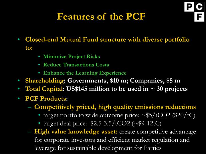 Features of the pcf