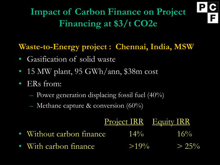Impact of Carbon Finance on Project Financing at $3/t CO2e