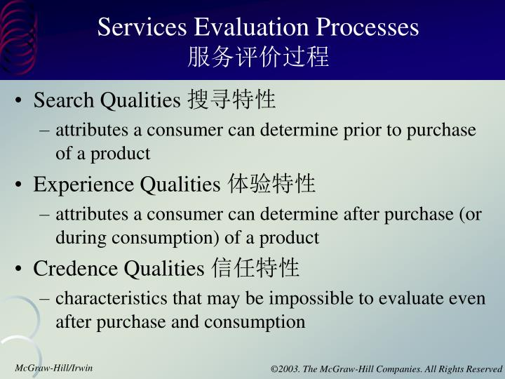 Services Evaluation Processes
