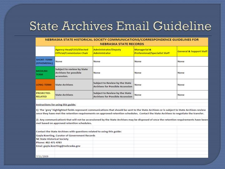 State Archives Email Guideline