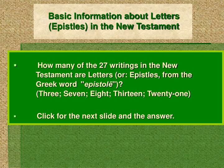 basic information about letters epistles in the new testament n.