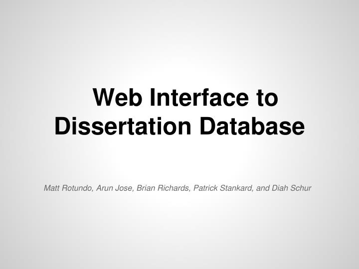 web interface to dissertation database n.