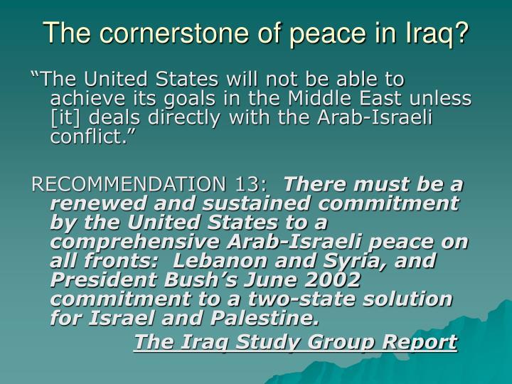 The cornerstone of peace in Iraq?