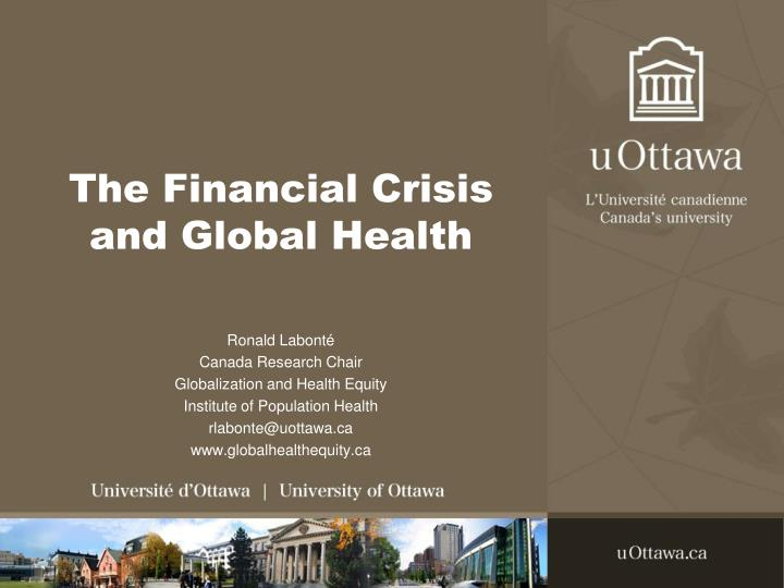the financial crisis and global health n.