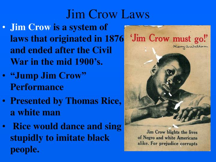 reactions to jim crow The military authorities tried to push back against this by imposing jim crow segregation in britain, so that when the black american world heavyweight boxing champion joe louis visited on a propaganda tour in 1944 he encountered blatant discrimination from the troops he was visiting, as he had at home.
