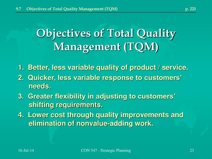 9.7	Objectives of Total Quality Management (TQM)	p. 221