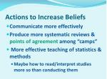 actions to increase beliefs
