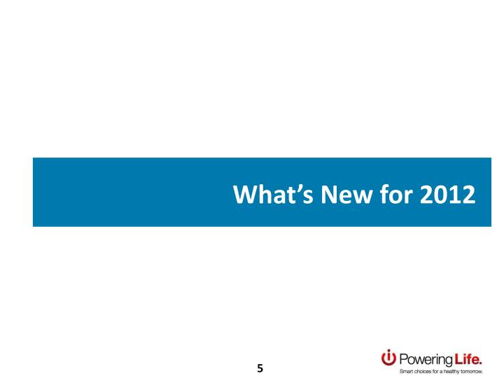 What's New for 2012