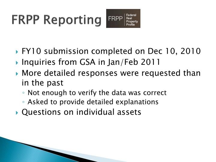 Frpp reporting