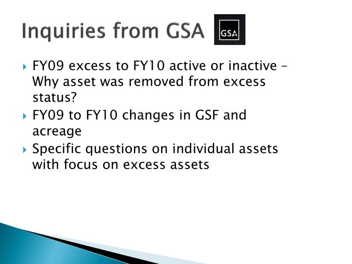 Inquiries from GSA