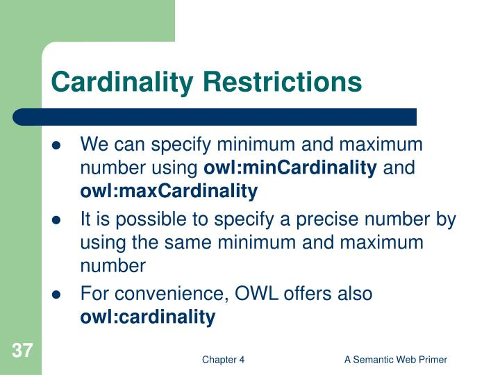 Cardinality Restrictions