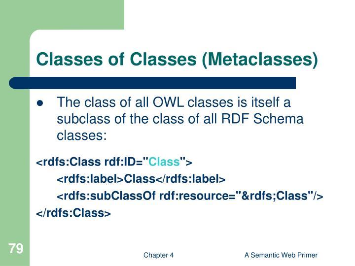 Classes of Classes (Metaclasses)