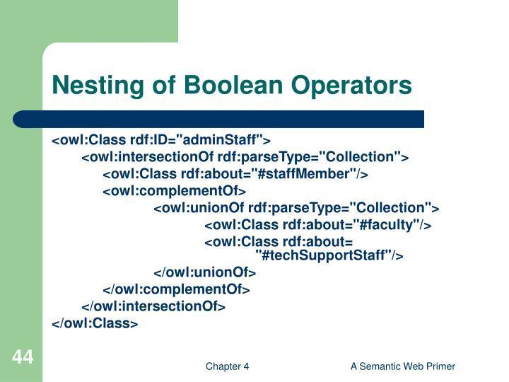 Nesting of Boolean Operators