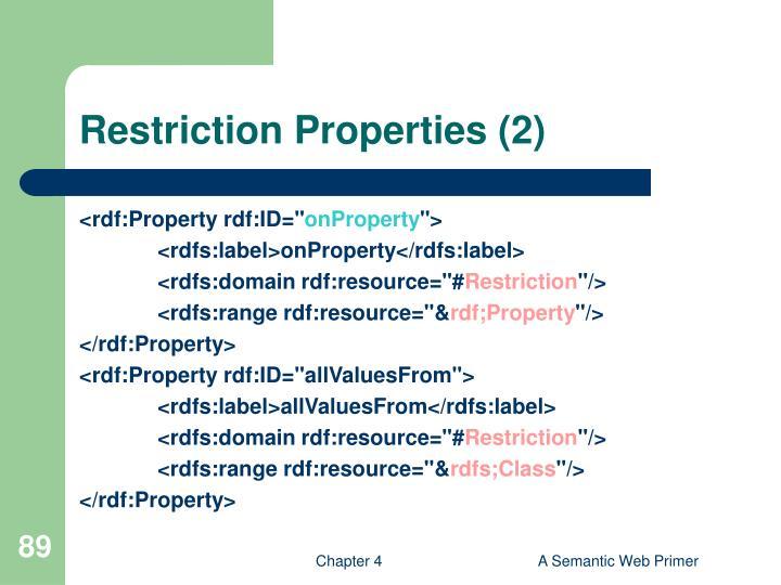 Restriction Properties (2)