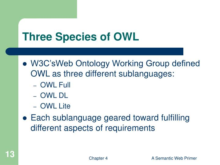 Three Species of OWL
