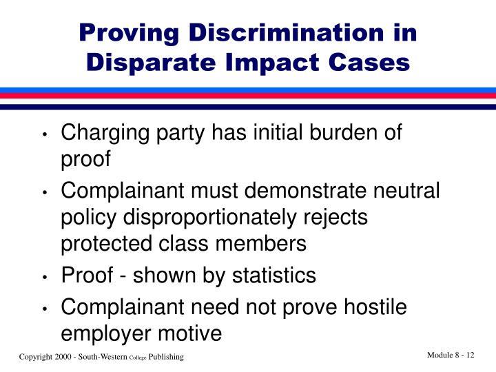 Proving Discrimination in Disparate Impact Cases